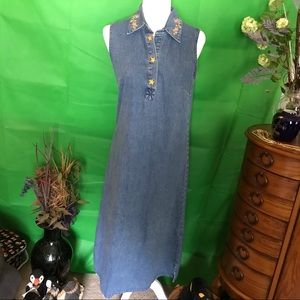 C&B Cute Denim Dress with Embroidery Accents  S